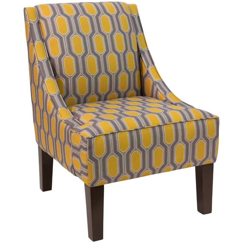 yellow upholstered accent chair high suction toy skyline furniture in hexagon 72
