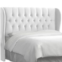 Skyline Tufted Wingback Headboard in Velvet White