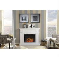 "41"" Wide Electric Fireplace Mantel in White - ZCUMBRIA"