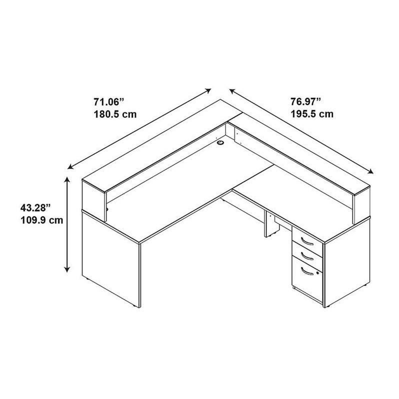 Series C Elite 72W L Shaped Reception Desk with Storage in