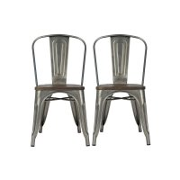 Metal Dining Chair with Wooden Seat in Gun Metal (Set of 2 ...
