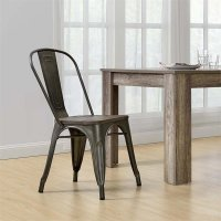 Metal Dining Chair with Wooden Seat in Copper (Set of 2 ...