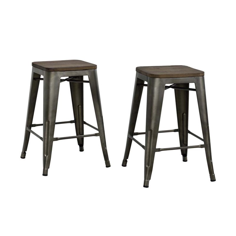 """24"""" Industrial Metal Counter Stool in Antique Copper"""
