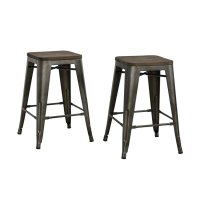 """24"""" Industrial Metal Counter Stool in Antique Copper - S002106"""