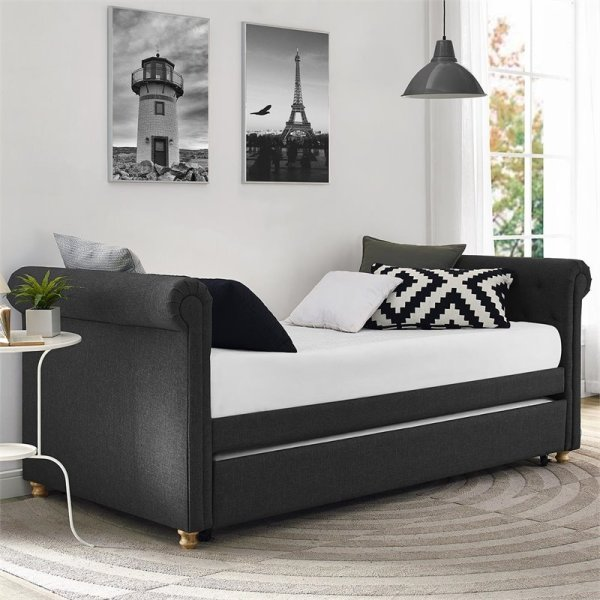 Upholstered Daybed And Trundle In Gray Linen - 4032459