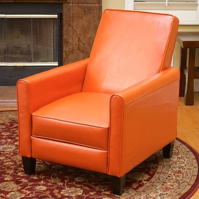 Trent Home Delouth Leather Recliner Chair in Orange  224252CY