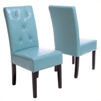 Trent Home Renoir Dining Chair in Teal Blue (Set of 2 ...