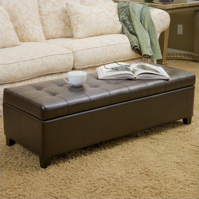 noble house guadaloupe leather ottoman storage bench in brown