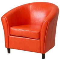 Trent Home Jean Leather Barrel Club Chair in Orange - 708312CY