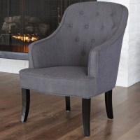 Trent Home Tufted Busch Barrel Chair in Gray - 999812CY