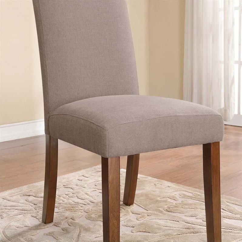 Linen Dining Chairs in Taupe Set of 2  DA6297