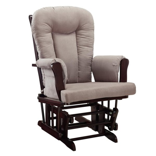 Glider Rocking Chair And Ottoman Set In Espresso Gray - Da4041r-dc