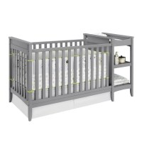 2-in-1 Convertible Crib and Changing Table Combo Set in ...