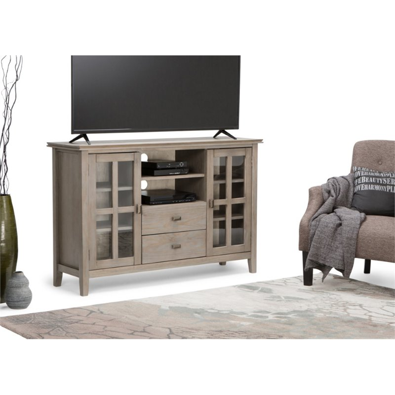Simpli Home Artisan 53 Tall TV Stand in Distressed Gray  eBay