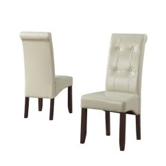 Faux Leather Dining Chairs Tall Office Chair In Cream Set Of 2 Ws5109 4 Cr