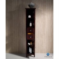 Fresca Oxford Tall Bathroom Linen Cabinet in Mahogany ...