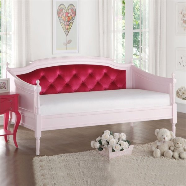 Acme Furniture Wynell Velvet Daybed In Pink And Red - 39170