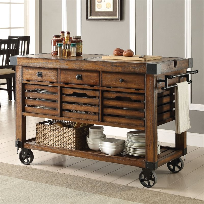 kitchen carts faucets acme furniture kaif cart in distress chestnut 98184