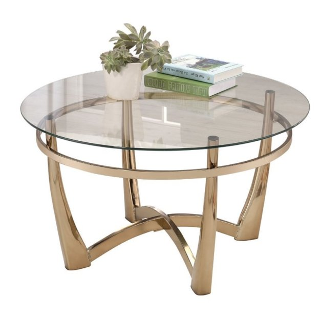 acme orlando ii round glass top coffee table in champagne - 81610