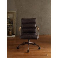 ACME Harith Leather Swivel Office Chair in Antique Ebony ...