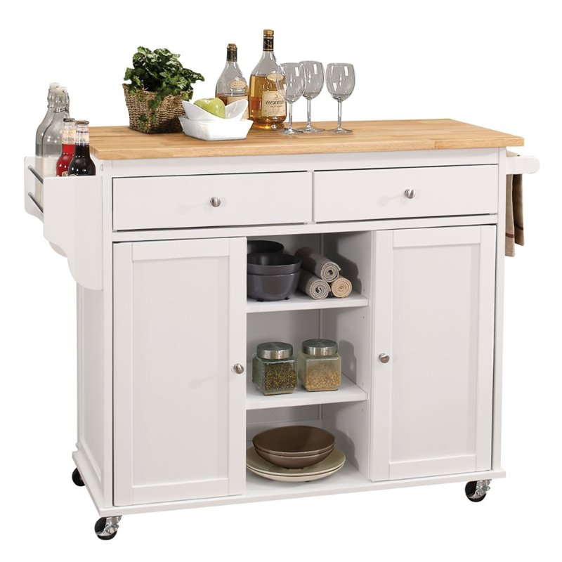 ACME Tullarick Mobile Kitchen Island in Natural and White