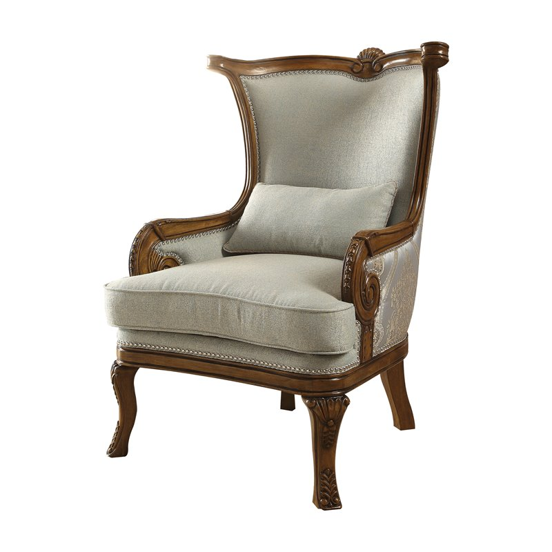 blue pattern accent chair ladder back dining chairs acme darian in light fabric and brown 59563