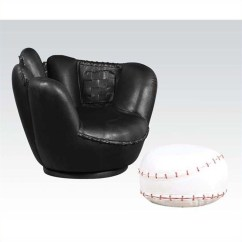 Swivel Club Chair With Ottoman Desk Without Wheels Acme All Star Kids In Black And White 05522