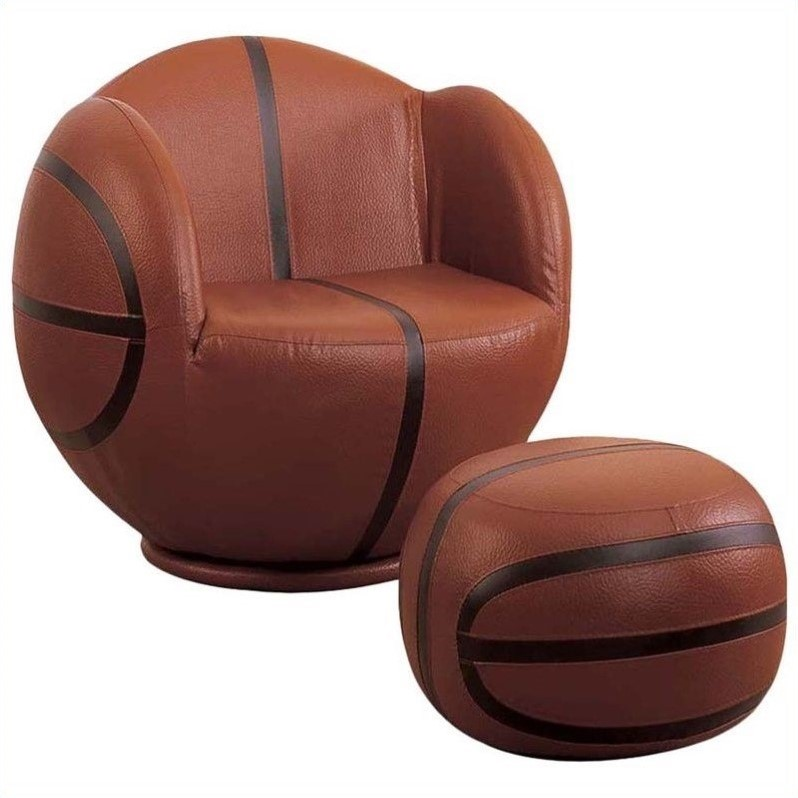 kids chair with ottoman cheap gaming acme all star basketball swivel and in brown 05527