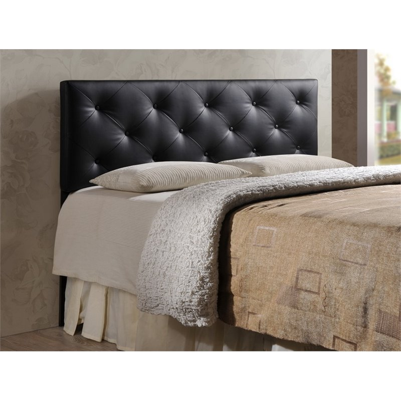 real leather chairs hanging chair with base bedford queen faux upholstered headboard - bbt6431-black-hb-queen