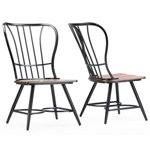 wrought iron dining chairs cynthia rowley nailhead accent chair cymax stores baxton studio longford windsor side in black set of 2