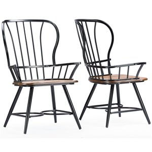 wrought iron dining chairs room chair covers christmas cymax stores baxton studio longford windsor arm in black set of 2