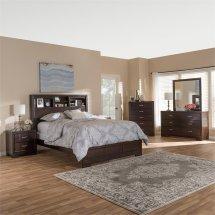 Baxton Studio Padma 6 Piece Queen Bookcase Bedroom Set In