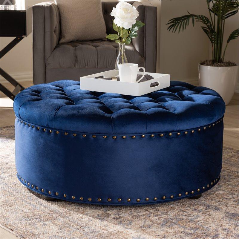 baxton studio iglehart modern tufted velvet coffee table ottoman in blue