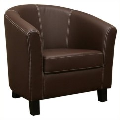 Patio Club Chair Mid Century Danish Faux Leather Barrel In Brown - J-018-dark