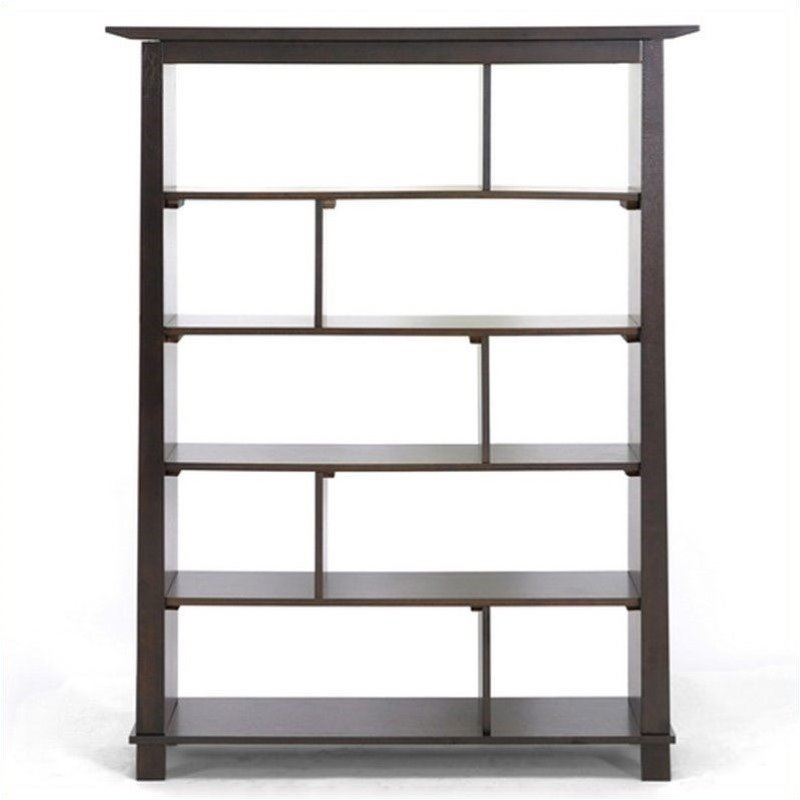 Baxton Studio Havana Tall Bookcase In Dark Brown Wood 5