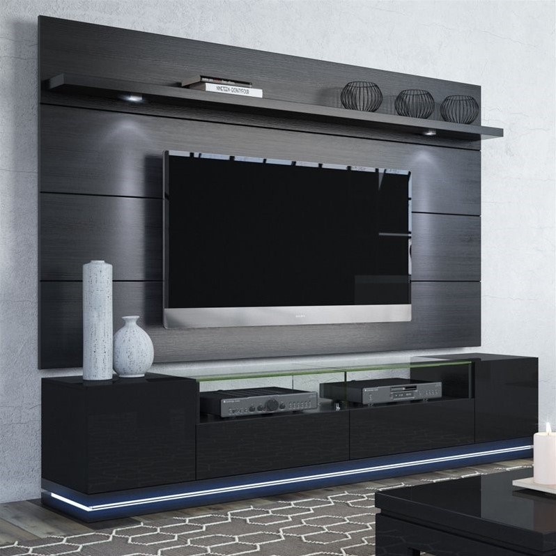 Manhattan Comfort 85 TV Stand and Panel in Black  2