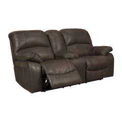Ashley Faux Leather Sofa Reviews Lounger Canada Zavier Glider Power Reclining Loveseat In Truffle 4290191