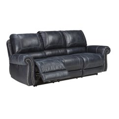 Ashley Faux Leather Sofa Reviews Brown Bed Dfs Milhaven Reclining In Navy - 6330488