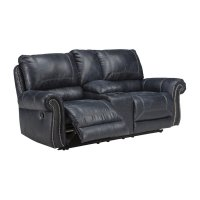 Ashley Milhaven Double Reclining Faux Leather Loveseat in ...