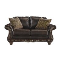 Ashley Vanceton Leather Loveseat in Antique