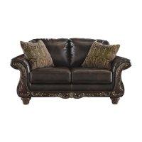 Ashley Vanceton Leather Loveseat in Antique - 6740235