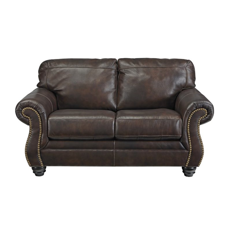 Ashley Bristan Leather Loveseat in Walnut