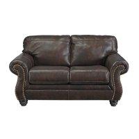 Ashley Bristan Leather Loveseat in Walnut - 8220235
