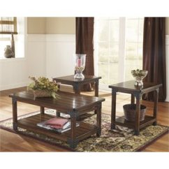 3 Piece Table Set For Living Room Design Coffee Sets Cymax Stores Ashley Murphy In Medium Brown