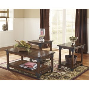 3 piece living room table set neutral furniture coffee sets cymax stores ashley murphy in medium brown