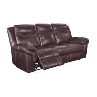 Ashley Zephen Power Reclining Leather Sofa in Mahogany ...