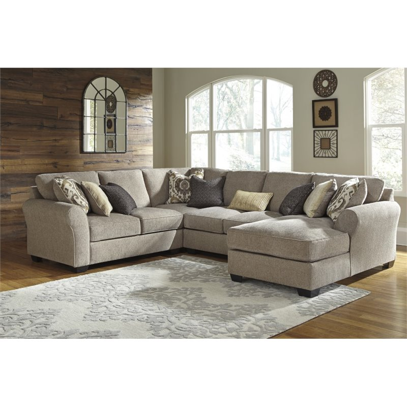 Ashley Pantomine 4 Piece Left Facing Sectional In Driftwood 39102 55 77 34 17 KIT