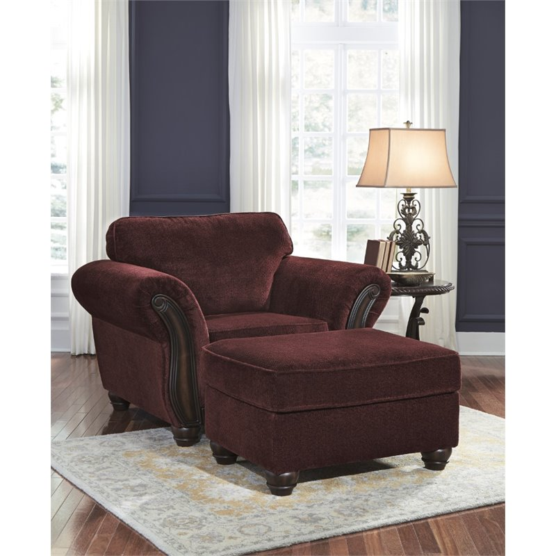 patio chairs cushions plastic rocking ashley chesterbrook accent chair with ottoman in burgundy - 88102-20-14-pkg