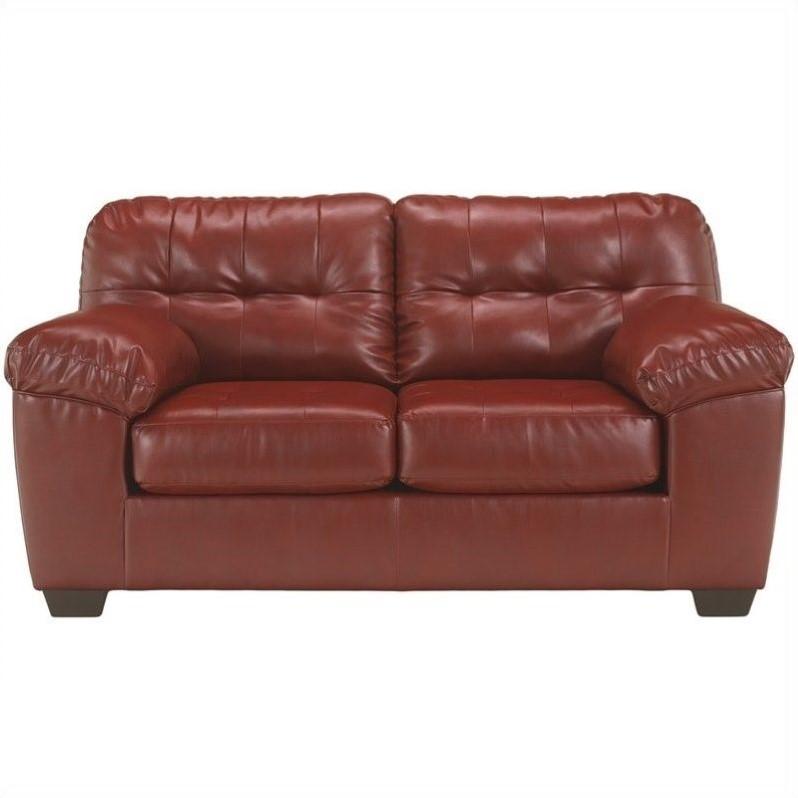 Ashley Furniture Alliston Leather Loveseat in Salsa