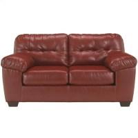 Ashley Furniture Alliston Leather Loveseat in Salsa - 2010035